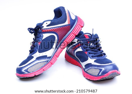 running shoes with red and blue colors