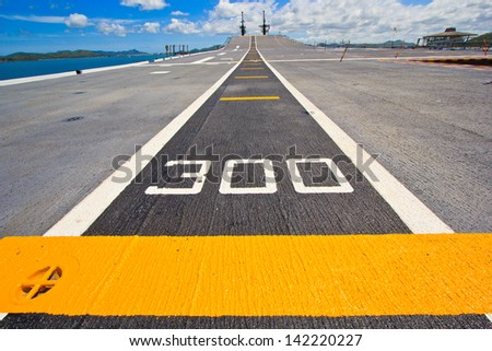 ... at takeoff on battleship and Runway Aircraft Carrier - stock photo