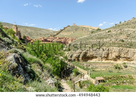 rural scenery of the medieval town of Albarracin in Teruel, Aragon, Spain
