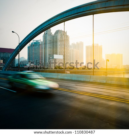 rush car in motion blur at street of guangzhou china.