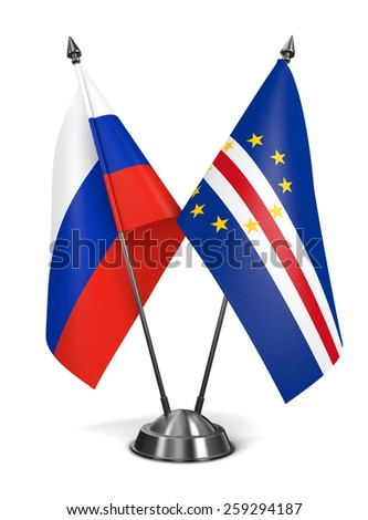 Russia and Cape Verde - Miniature Flags Isolated on White Background.