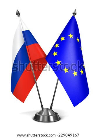 Russia and EU - Miniature Flags Isolated on White Background.