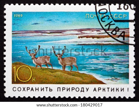 RUSSIA - CIRCA 1989: a stamp printed in the Russia shows Arctic Deer, Environmental Protection, circa 1989
