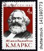 RUSSIA - CIRCA 1963: a stamp printed in the Russia shows Karl Marx, Philosopher and Revolutionary Socialist, Anniversary of the Birth, circa 1963 - stock photo