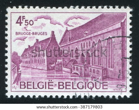 RUSSIA KALININGRAD, 20 OCTOBER 2015: stamp printed by Belgium, shows Hospice of St. John Bruges, circa 1976
