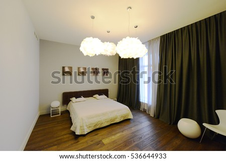 Russia,Moscow  - bedroom interior in new luxury country house