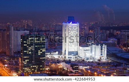 Russia, Moscow, 31 January 2014: Photo of Gazprom headquarters in the Moscow