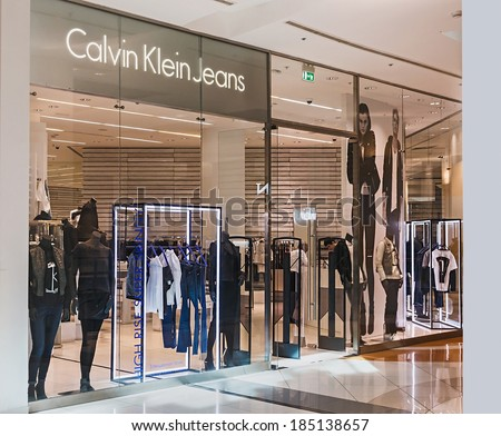 , MOSCOW - MARCH 23, 2014: Calvin Klein Store clothes in the mall ...