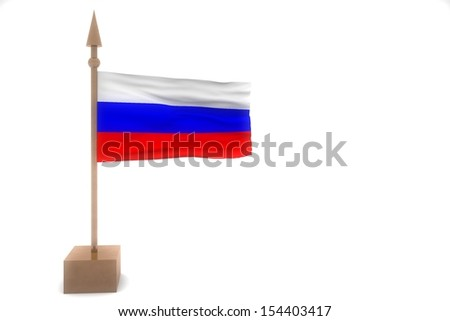 russia waving flag isolated on white