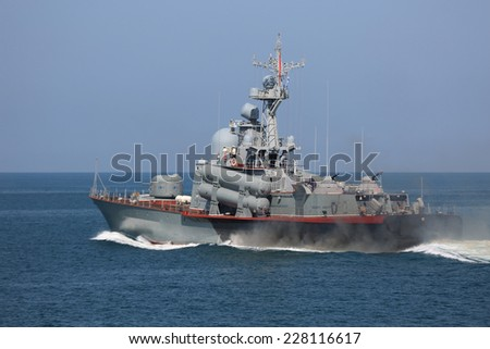 Russian missile boat in the open sea