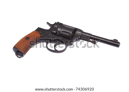 Russian revolver Nagant isolated on a white background