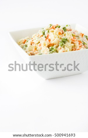 Russian salad isolated on white background