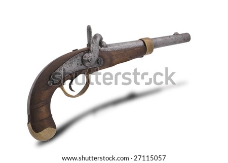 Russian soldier combatant cap gun. (model 1848). On white isoleted background