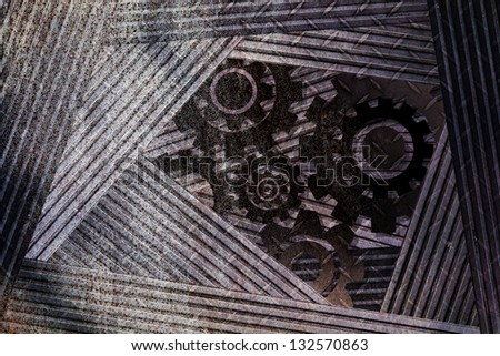 rust metal texture with gear part