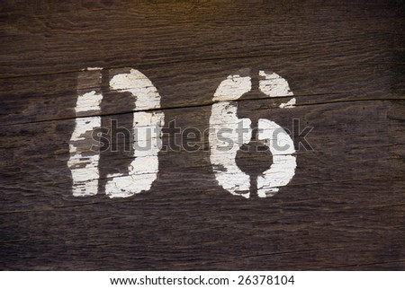 Rustic D6 Stencil Letter and Number on Wood
