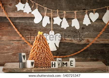 rustic styled new year tree made from pasta and wooden decoration