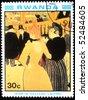 RWANDA - CIRCA 1984: A stamp printed in Rwanda shows draw by artist  Henri de Toulouse-Lautrec - At The Moulin Rouge II, circa 1984 - stock photo