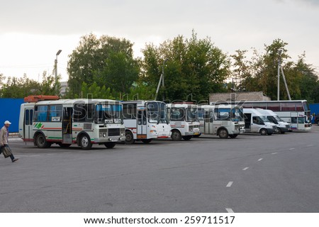 RYAZAN, RUSSIA - AUGUST 25: Small busses in a bus station on August 25, 2014 in Ryazan city. Ryazan is administrative center of Ryazan Oblast.