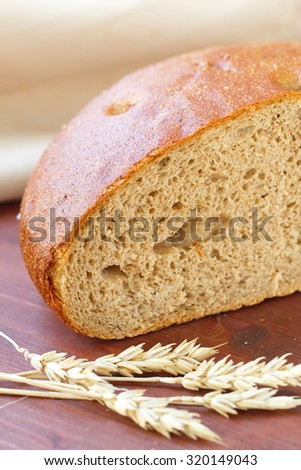 Rye bread on the wooden table