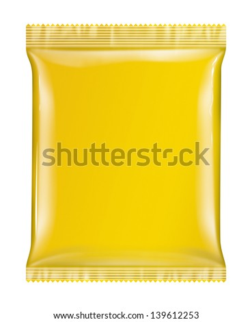 Sachet bag package yellow package isolated on white background white