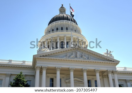 Sacramento Capitol Building in California. The building serves as both a museum and the state's working seat of government.
