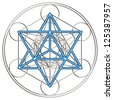 sacred geometry, flower of life, Metatron `s Cube / MERKABA - star tetrahedron /  MER = light, KA = spirit, BA = body - stock vector