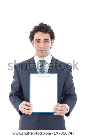 sad man holding blank white card with space for text, worried  business man holding empty signboard for copy space