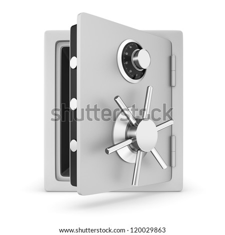 Safe with door opened.  Isolated on a white background.