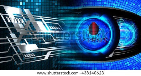 Safety concept, Closed Padlock on digital background, cyber security. Magnifier, Magnifying Glass