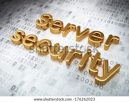 Safety concept: Golden Server Security on digital background, 3d render