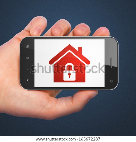 Safety concept: hand holding smartphone with Home on display. Mobile smart phone on Blue background, 3d render