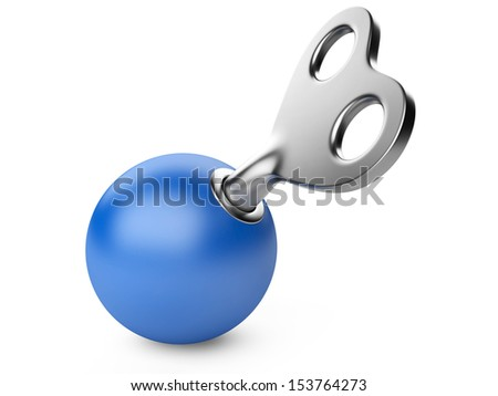 safety concept. sphere and key isolated on a white background