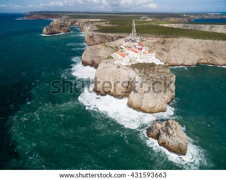 Sagres Lighthouse at Saint Vincent Cape (Cabo Sao Vicente) - most South-western point of Continental Europe, Algarve, Portugal