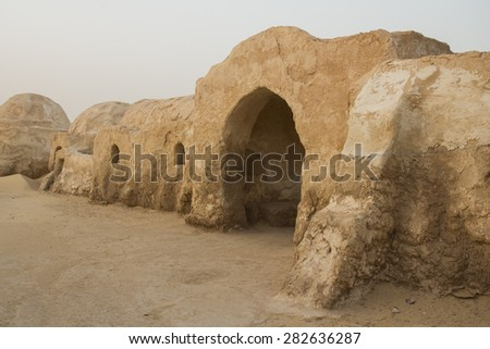 SAHARA, TUNISIA - MAY 27: Abandoned sets for the shooting of the movie Star Wars in the Sahara desert on a background of sand dunes on May 27, 2015 in Sahara, Tunisia