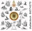 Sailboats with compass illustration - stock photo