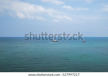 Sailing in the summer ocean