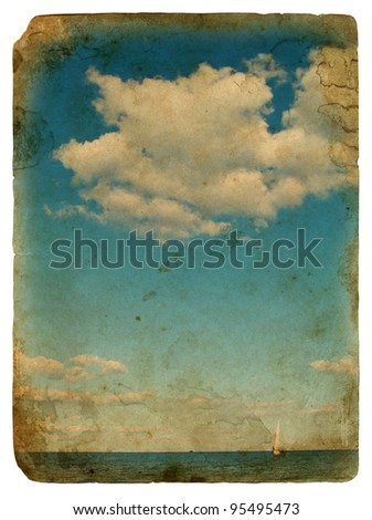 Sailing yacht in the beautiful backdrop of clouds. Old postcard, design in grunge and retro style