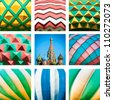 Saint Basil Cathedral on Red Square in Russia. Collage photo of church and its domes. Close up view of domes. Famous historic sight in Moscow. Russian Orthodox church of sixteenth century. - stock photo