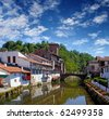 Saint Jean Pied de Port is the traditional starting point for the Camino de Santiago, France, UNESCO - the Pilgrim's Road to Santiago de Compostela - stock photo