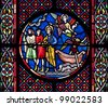 Saint Nectaire church stained glass detail, Auvergne - stock photo