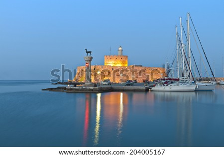 Saint Nikolaos fortress and the statue of the Deer at Rhodes island in Greece