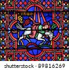Saint Paul the Apostle. Stained glass window in the Bayonne cathedral, France - stock photo