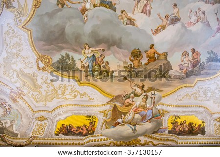 SAINT PETERSBURG, RUSSIA - APRIL 26: Fresco in The Catherine Palace on April 26, 2015 in the town of Tsarskoye Selo. It was the summer residence of the Russian czars.
