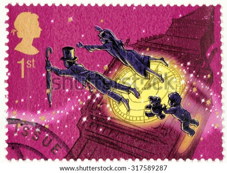 SAINT-PETERSBURG, RUSSIA - AUGUST 10, 2015: A stamp printed by GREAT BRITAIN shows  from Peter Pan stories by Scottish novelist and playwright James Matthew Barrie, circa May. 2002.