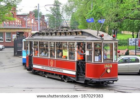 Saint petersburg russia may 26 2013 vintage brush tramway takes