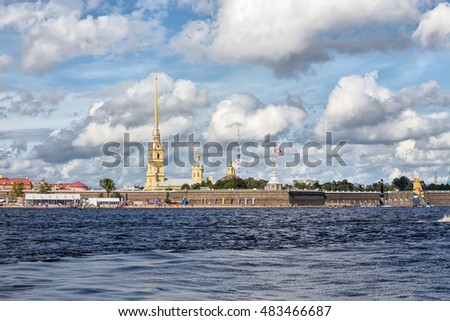 SAINT-PETERSBURG, RUSSIA - SEPTEMBER 2, 2016: Peter and Paul fortress during Extreme Sailing Series Act 5 catamarans race on 1th-4th September 2016 in St. Petersburg, Russia