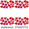Saint Valentine's Day concept of a frame made of bright and abstract blurred red, pink and violet hearts with shimmering glitter isolated on white - stock photo