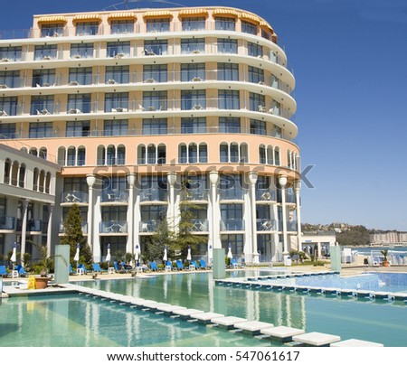 SAINTS CONSTANTINE AND HELENA, BULGARIA - APRIL 10, 2015: Hotel Azalia in Saints Constantine and Helena, the oldest first sea resort of Bulgaria, exists from 19 century.
