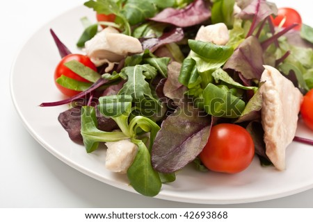 salad mix with chicken breast and cherry tomatoes