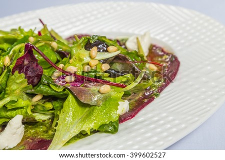 Salad of fresh beets with greens